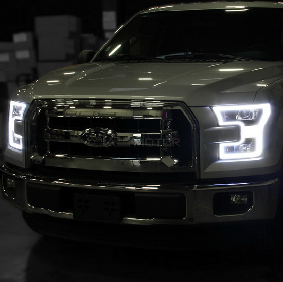 2015 Up Ford F150 Black Housing Led Rim Projector Headlights