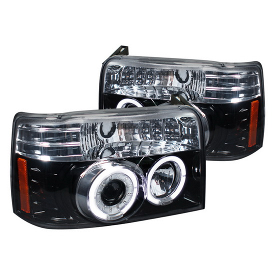 1992-1996 Ford F150 Black Housing Projector Headlights