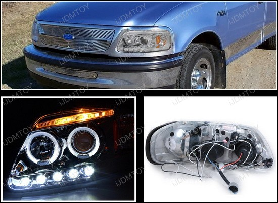 1997-2003 Ford F150 Chrome Housing Dual Halo Angel Eyes Projector LED Headlights