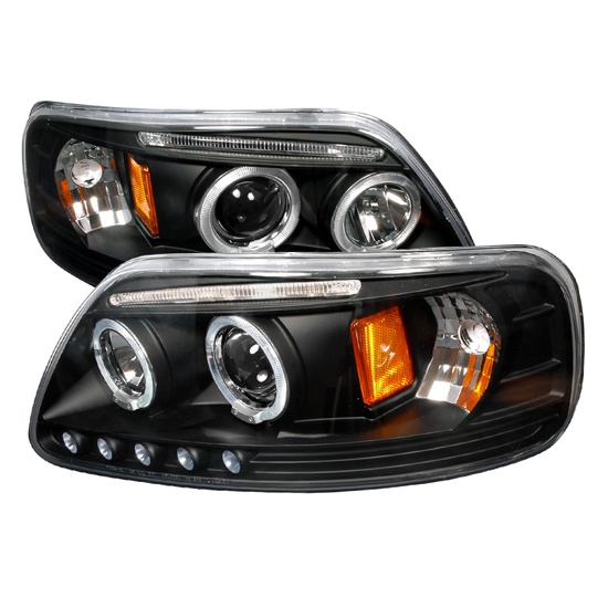 1997-2003 Ford F150 Black Housing Dual Halo Angel Eyes Projector LED Headlights