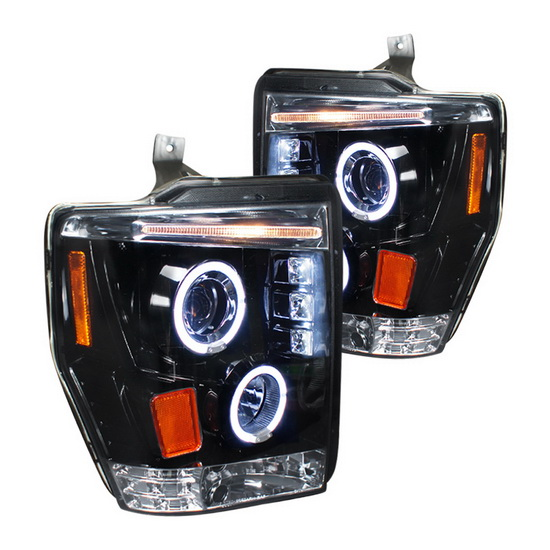 2008-2010 Ford F250 Black Housing Halo Projector Headlights