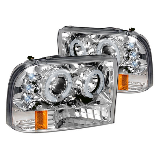 1999-2004 Ford F250 Chrome Housing Halo LED Projector Headlights