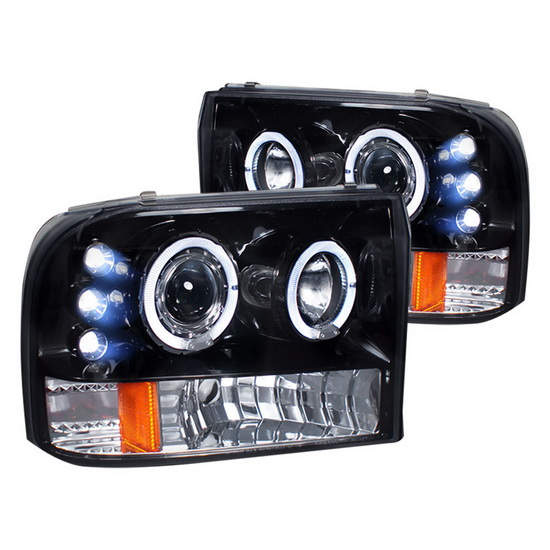 1999-2004 Ford F250 Black Housing Halo Projector Headlights