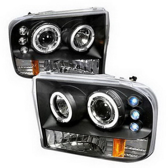 99 04 Ford F250 350 Black Dual Halo Projector Headlights With LEDs