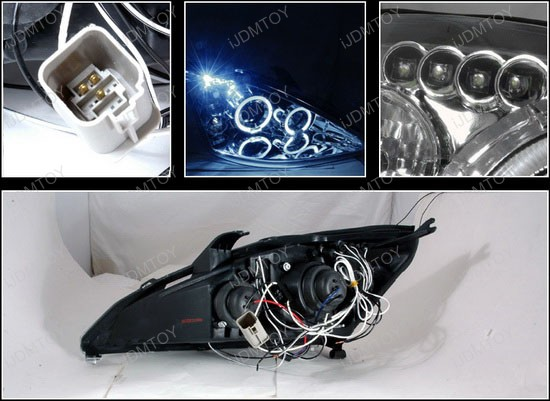 00-04 Ford FOCUS Chrome Housing Dual Halo Angel Eyes Projector LED Headlights
