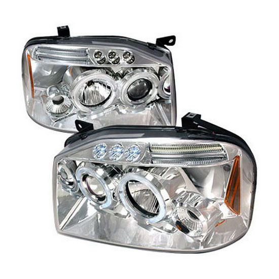 2001-2004 Nissan FRONTIER Chrome Housing Dual Halo Angel Eyes Projector LED Headlights