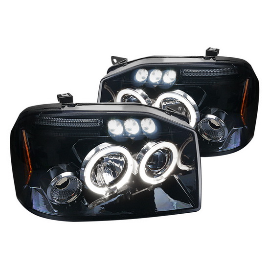 2001-2004 Nissan FRONTIER Black Housing Halo LED Projector Headlights