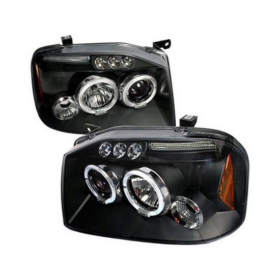 2001-2004 Nissan FRONTIER Black Housing Dual Halo Angel Eyes Projector LED Headlights