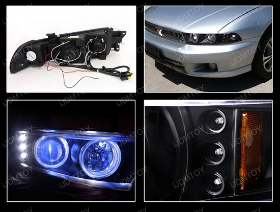 99-02 Mitsubishi Galant Black Dual Halo Projector Headlights with LEDs