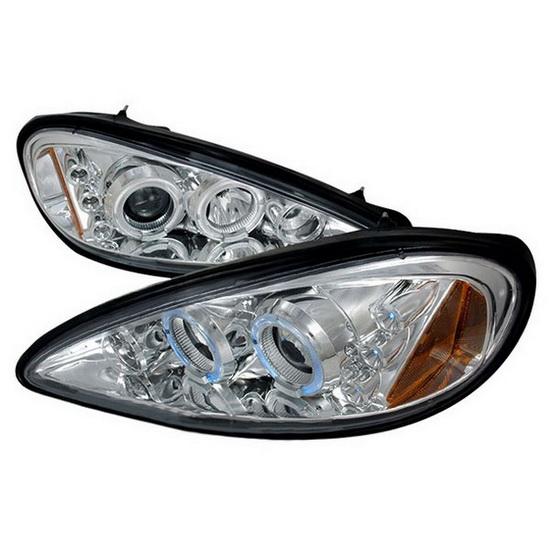 99-05 Pontiac Grand Am Chrome Dual Halo Projector Headlights with LEDs