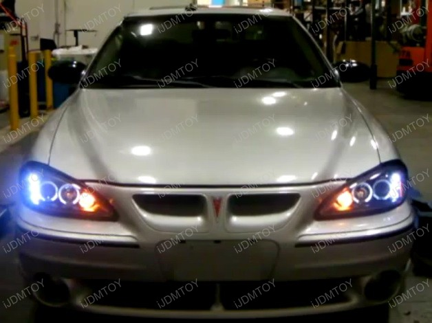 99-05 Pontiac GRAND AM Black Housing Dual Halo Angel Eyes Projector LED Headlights