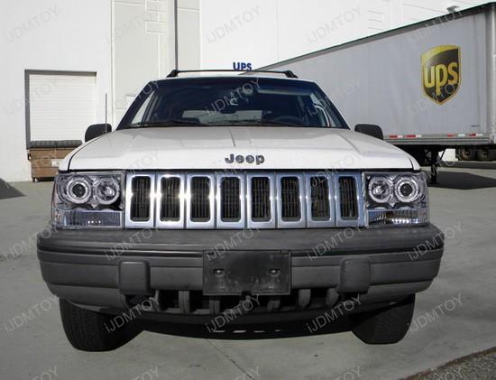 1993-1998 Jeep GRAND CHEROKEE Chrome Housing Dual Halo Angel Eyes Projector Headlights
