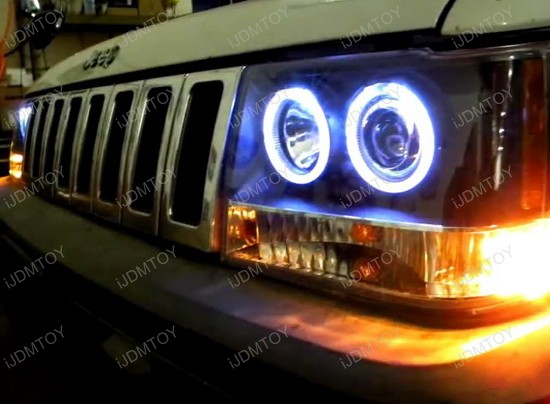 93-98 Jeep GRAND CHEROKEE Black Halo Projector Headlights