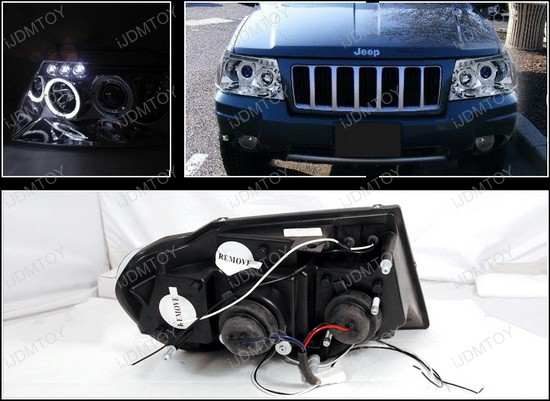 99-04 Jeep GRAND CHEROKEE Chrome Housing Dual Halo Angel Eyes Projector LED Headlights