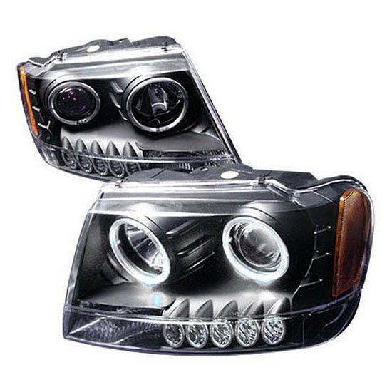 1999-2004 Jeep GRAND CHEROKEE Black Housing Dual Halo Angel Eyes Projector LED Headlights