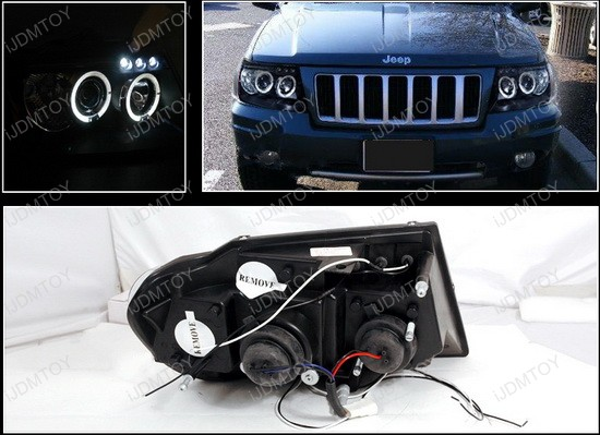 99-04 jeep grand cherokee black dual halo projector led headlights