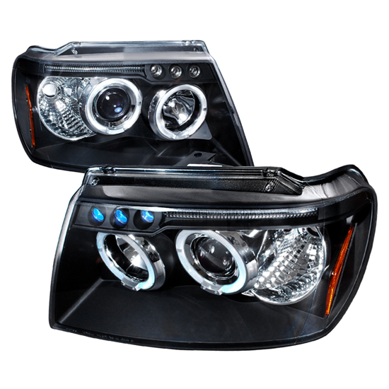 99-04 Jeep GRAND CHEROKEE Black Housing Dual Halo Angel Eyes Projector LED Headlights