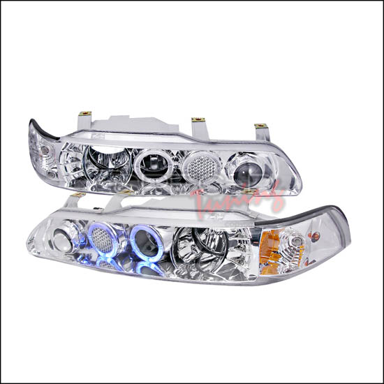 90-93 Acura INTEGRA Chrome Housing 1-Piece Dual Halo Angel Eyes Projector Headlights