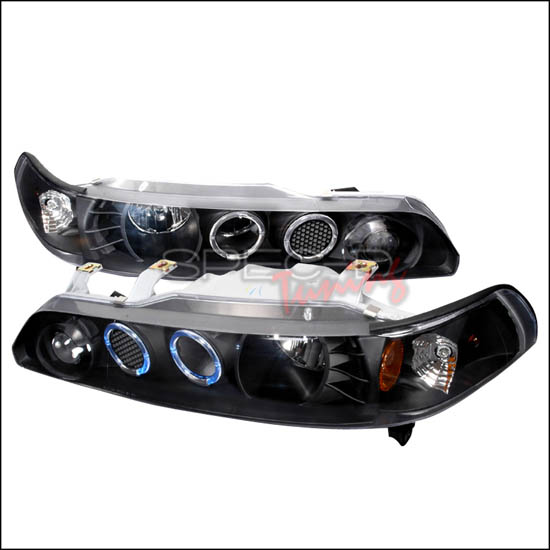 90-93 Acura INTEGRA Black Housing 1-Piece Dual Halo Angel Eyes Projector Headlights