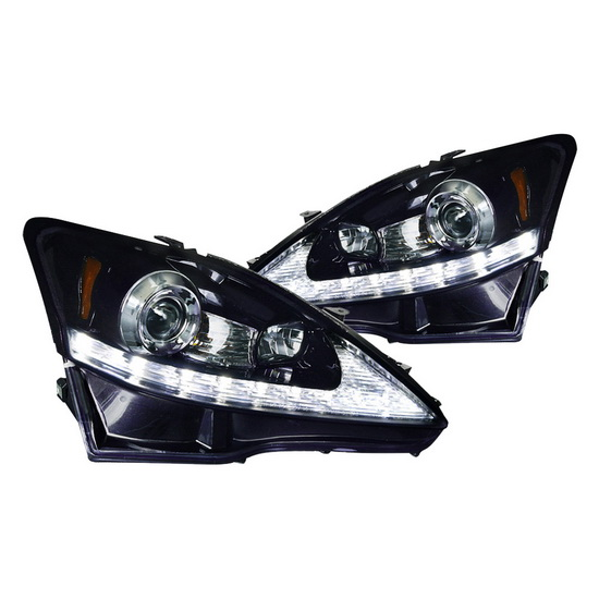 2006-2009 Lexus IS250 Black Housing LED Projector Headlights