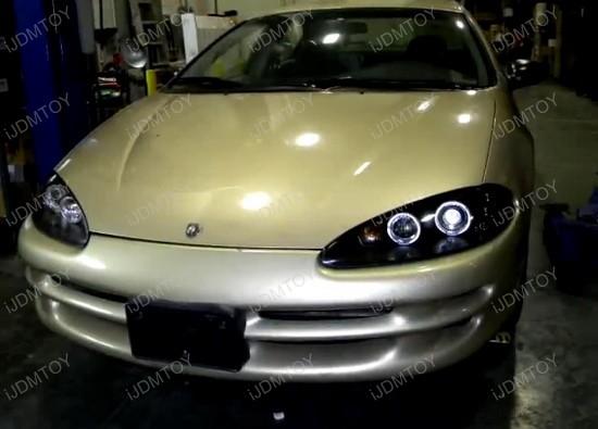 98-04 Dodge INTREPID Black Housing Dual Halo Angel Eyes Projector LED Headlights