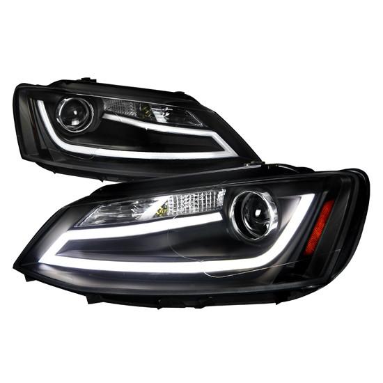 11-13 Volkswagen JETTA Black Housing Clear Lens Projector Headlights with LED Daytime Running Light Bar