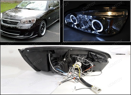 2004-2007 Chevrolet MALIBU Chrome Housing Dual Halo Angel Eyes Projector LED Headlights