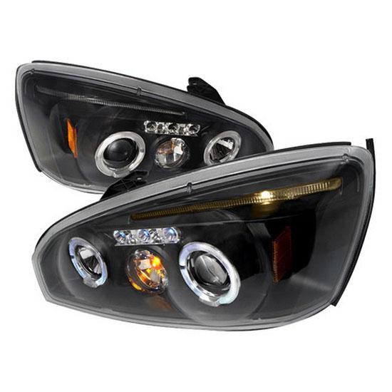 2004-2007 Chevrolet MALIBU Black Housing Dual Halo Angel Eyes Projector LED Headlights