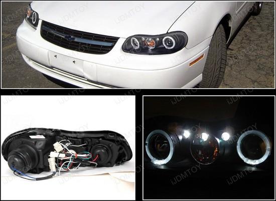 1997-2003 Chevrolet MALIBU Black Housing Dual Halo Angel Eyes Projector LED Headlights