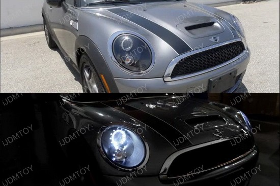 07-11 MINI COOPER Black Housing Single Halo Projector LED Headlights