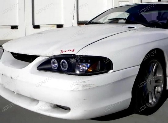 94-98 Ford MUSTANG Black Housing Smoke Lens Dual Halo Angel Eyes Projector LED Headlights