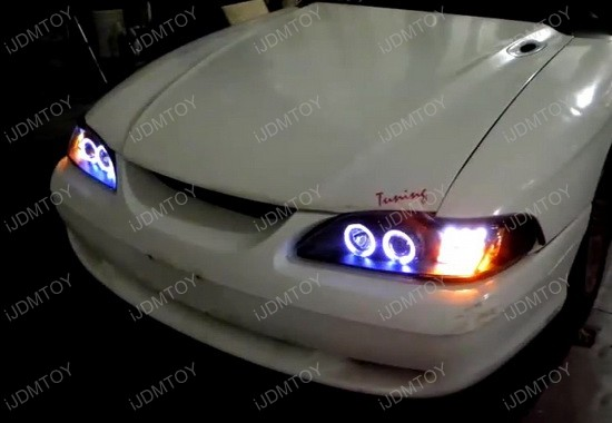 1994-1998 Ford MUSTANG Black Housing Dual Halo Angel Eyes Projector LED Headlights