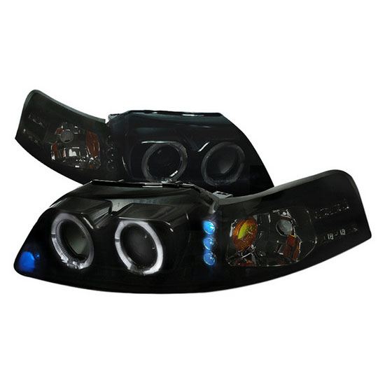 99-04 Ford MUSTANG Black Housing Smoke Lens Dual Halo Angel Eyes Projector LED Headlights