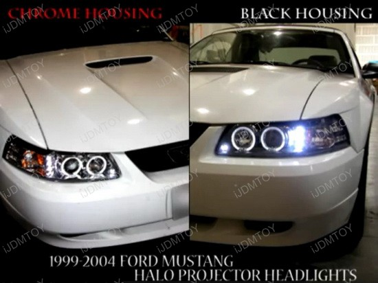 99-04 Ford Mustang Black Halo Projector Headlights