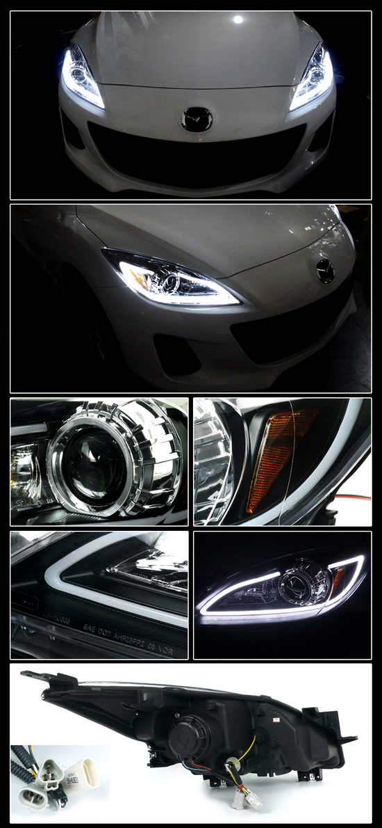 2010-2013 Mazda 3 Black Housing Clear Lens Halo Angel Eye Projector Headlights