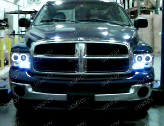 02-05 Dodge RAM Chrome Dual Halo Angel Eyes Projector LED Headlights