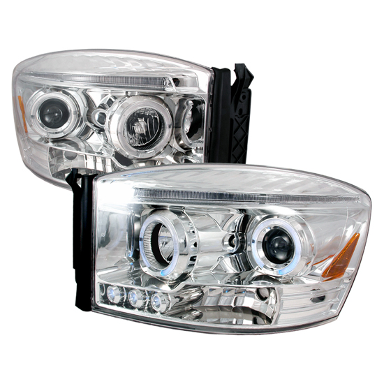 06-08 Dodge RAM Chrome Dual Halo Angel Eyes Projector LED Headlights