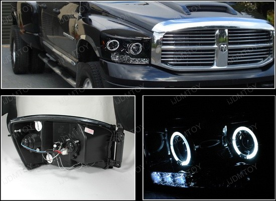 2006-2008 Dodge RAM Black Housing Dual Halo Angel Eyes Projector LED Headlights