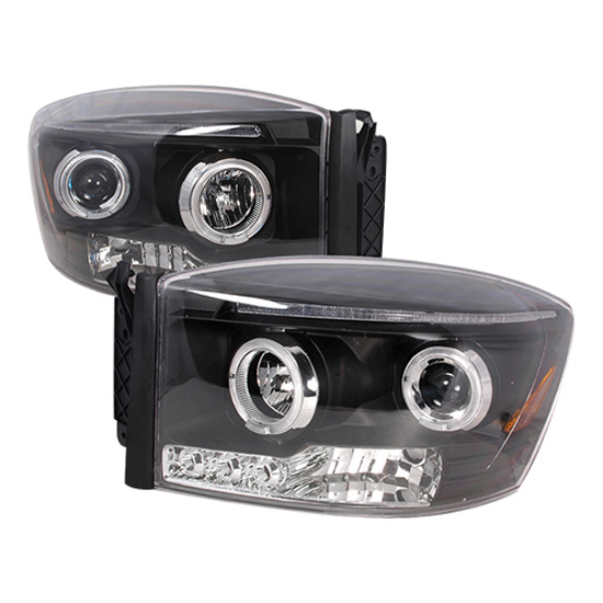 06-08 Dodge RAM Black Dual Halo Angel Eyes Projector LED Headlights