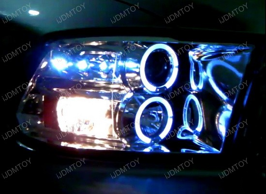 09-12 Dodge RAM Glossy Black Housing Smoked Lens Dual Halo Angel Eyes Projector LED Headlights