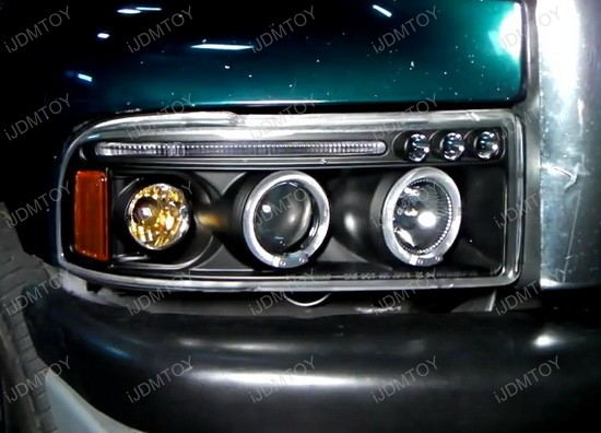 Halo Headlights For 01 Dodge Ram 94-01 Dodge Ram Chrome Housing