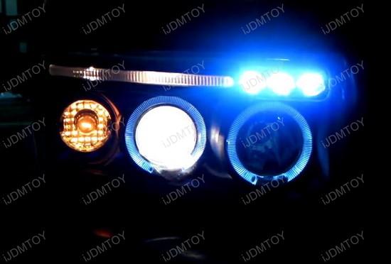 94-01 Dodge RAM Chrome Housing Dual Halo Angel Eyes Projector LED Headlights