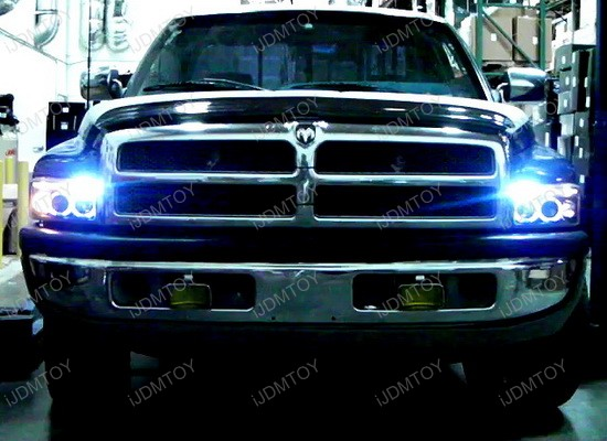 94 01 Dodge Ram Chrome Housing Dual Halo Angel Eyes Projector Led Headlights