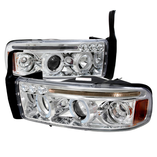 94-01 Dodge RAM Chrome Housing Dual Halo Angel Eyes Projector LED Headlights