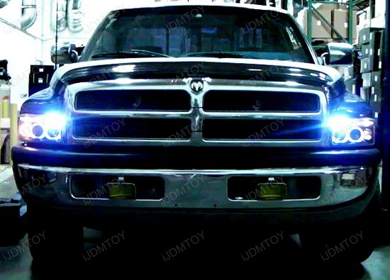 94 01 Dodge Ram Black Housing Dual Halo Angel Eyes Projector Led Headlights