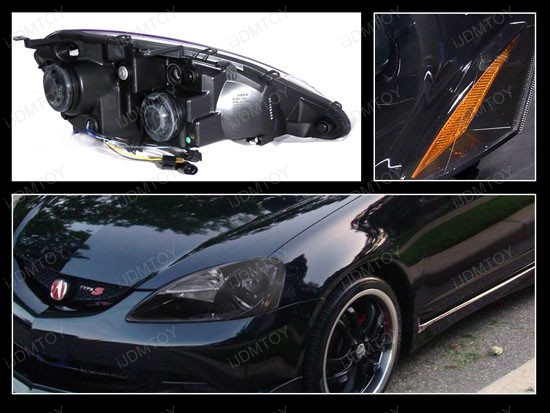 05-06 Acura RSX Black Housing Projector Headlights