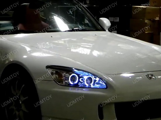 2004-2009 Honda S2000 BASE CONVERTIBLE 2-Door Black Housing Dual Halo Angel Eyes Projector Headlights