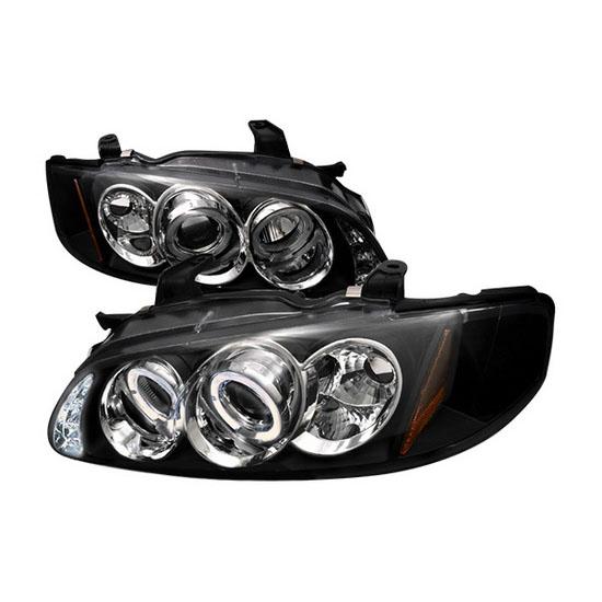 2000-2003 Nissan SENTRA Black Housing Dual Halo Angel Eyes Projector LED Headlights