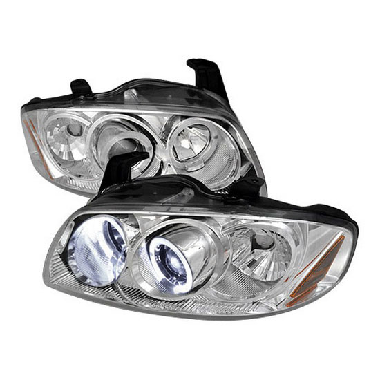 2004-2006 Nissan SENTRA Chrome Housing Dual Halo Angel Eyes Projector LED Headlights