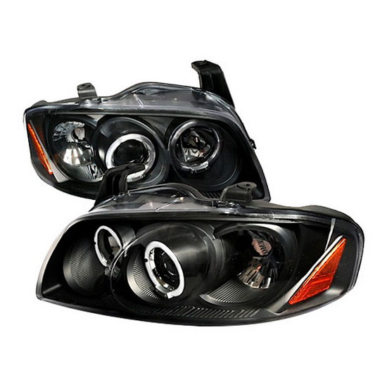 2004-2006 Nissan SENTRA Black Housing Dual Halo Angel Eyes Projector LED Headlights